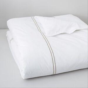 Hudson Park Dot Frame Duvet Cover 100% Cotton FULL / QUEEN White / Beige Z280