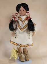 """Kingstate Porcelain Collector's Girl Doll 15"""" Indian Native American Plus Stand"""