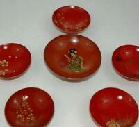 Vintage Japanese Lacquer Sakazkuki Saki Cups
