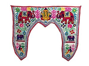 Indian White Suzani Wallhanging Door Tapestry Toran PatchWork Hand Embroidered.
