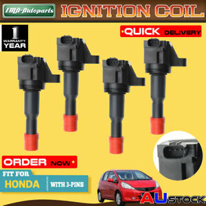 4x For Honda Jazz II GD L15A 4Cyl 1.5L 2002-2008 Ignition Coils CM11-110