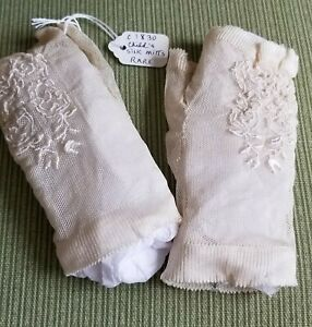Antique Georgian Child's Silk Fingerless Mittens - RARE