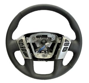 OEM 2019-2021 Nissan Titan Titan XD Black Leather Steering Wheel 48430-9FU2A