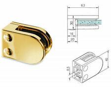 BRASS GLASS BRACKET CLAMPS / FLAT BACK FOR HANDRAILS + BALUSTRADES GRADE 316
