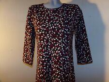 APPLESEED'S Career Midi Dress Black/Red/Tan/Ivory Sz Medium Petite 3/4 Slvs NWOT