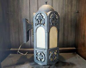 "Vtg Antique Gothic Style Cast Aluminum & Glass Porch Wall Light Sconce 17""x8""x9"""