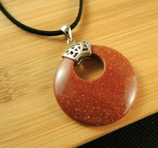 Brown Goldstone Round Gemstone Pendant on a Black Suede Cord Necklace #2221