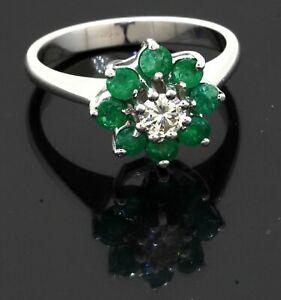 14K white gold 1.05CT VS diamond & emerald flower cluster ring size 6.5