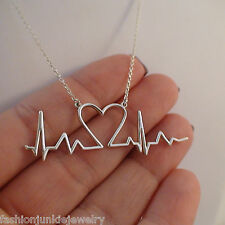 Heartbeat Necklace - 925 Sterling Silver - Love New Mother Heart Beat Life NEW