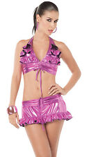 2080 2 Pcs Rave Metallic Purple Magneta Skirt Gogo Bikini Dance Club wear S M L