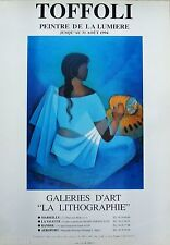 TOFFOLI*AFFICHE*1994*FEMME*BLEU*MARSEILLE*GALERIE*LITHOGRAPHIE*RARE*COLLECTOR
