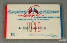 Original 1949 Canadian-American Baseball League Off. Pass