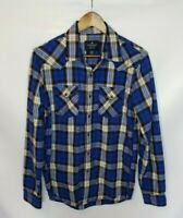 American Eagle Men's Blue White Plaid Seriously Soft Snap Down Long Sleeve Shirt