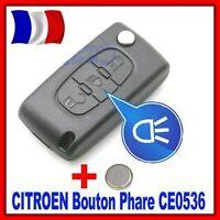 Coque PLIP Boitier Clé Pour Peugeot 207/307/407/807 Bouton Phare CE0536 + Pile