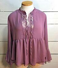 Arizona Jeans Co. Women's Shirt Blouse Plus Size XXL Mauve Lace Bell Sleeves