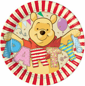 Pack of 8 Winnie the Pooh 19.5cm Paper Plates - Party - Birthday - Celebration