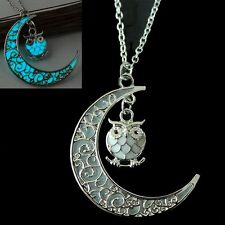 Lovely Owl Moon Pendant Necklace Grow In The Dark Jewelry Valentine's Day Gifts