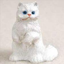PERSIAN CAT Resin HAND PAINTED MINIATURE FIGURINE Small Mini WHITE kitty Kitten
