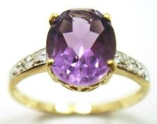 FINE 10KT SOLID YELLOW GOLD AMETHYST & DIAMOND RING    SIZE 7  R931