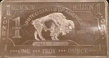 1 Ounce Pure Aluminum Buffalo Bullion Art Bar .999 Fine Pure