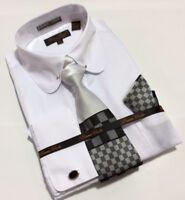 Men's Bruno Conte French Cuff White Dress Shirt Tie Hanky Set Round Collar Bar