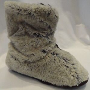 Dearfoams Plush Bootie Slippers Brown Fuzzy Zip Up New Size Small S Womens The