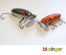 New listing (2) Vitage Arbogast Jitterbug Fishing Lures Plastic + Wood