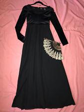 Victorian EMMA regency costume dress size S 4 ball gown black fan Jane Austen