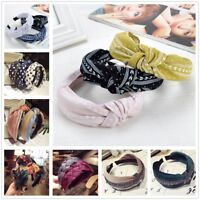 Women Twist Hairband Bow Knot Cross Tie Wide Headband Headwear Hair Band Hoop