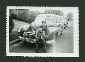 1946 1947 1948 Buick Car & Boy w/ Pet Dogs Vintage Photo 456169