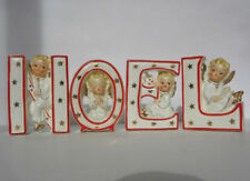 "4 Pc. Vintage Norcrest Japan Porcelain ""NOEL"" Angel Candle Holder Wall Pockets"