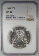 1943-P Silver Walking Liberty Half Dollar NGC MS64 Coin AI931