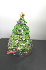 Allure Metallic Green Christmas Tree Cookie Jar 1998 train, drum, horse