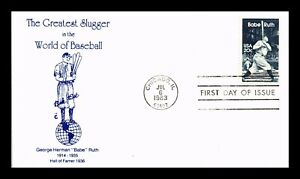 US COVER BABE RUTH GREATEST SLUGGER BASEBALL FDC THERMOGRAPHED CACHET SCOTT 2046