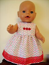 "17"" Baby Born/CPK White Dolls Dress Red Flowers Red Daisies & Lace."