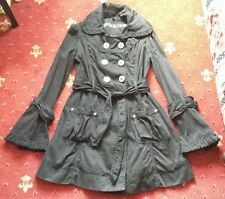 Black Mac Jacket Coat S 12 Gothic Punk Emo Steampunk Bell Flared Sleeves