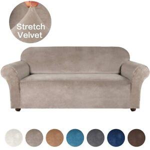 Velvet Plush Elastic Stretch Sofa Cover Slipcover Protector Settee 1-4 Seater