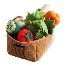 IKEA DUKTIG 14 Piece Stuffed Vegetable Basket Set Pretend Play Food New