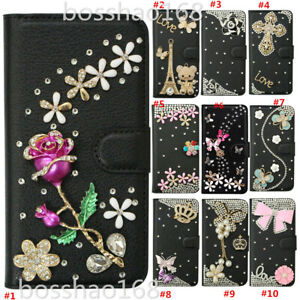 Bling Diamond Leather Flip wallet Stand Phone case & 2 straps For iPhone Samsung