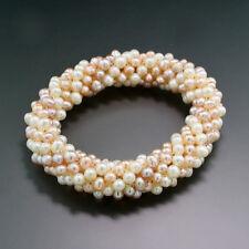 Mehrreihiges geflochtenes Armband Zuchtperlen in Weiß, Rosa, Pfirsich, neu