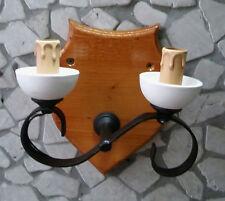 Applique rustico in ferro battuto e legno 2 luci in terracotta