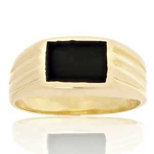 Men's 14k Yellow Gold Solid Square Black Onyx Ring 8.4mm Sizes 5-9