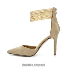 Women D'Orsay Ankle Strap Pointy Toe Faux Suede High Heel Pump Zipper Taupe #7.5