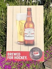 Budweiser Detroit Red Wings NHL Hockey Beer Bar Pub Wood Sign  Mirror New