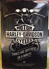 Harley Davidson Things Are Different Wall Decor Garage Embossed Sign 20x30 Cm