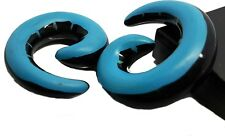 SPIRAL FLESH TUNNEL SNAIL EAR PLUG EXPANDER STRETCHER ACRYLIC BLUE BLACK