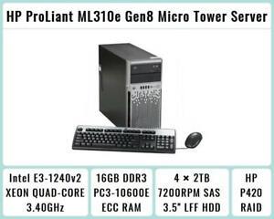 HP ProLiant ML310e Gen8 Tower E3-1240v2 Quad-Core 3.4GHz 16GB RAM 4×2TB SAS P420