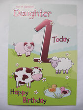 WONDERFUL COLOURFUL SPECIAL DAUGHTER 1 TODAY 1ST BIRTHDAY GREETING CARD