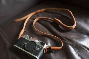 Genuine Real Leather Camera Shoulder Neck Strap for EVIL Film Camera Light Brown