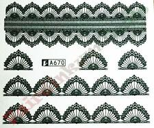 Black Lace Flower Nail Art Stickers Water Decals - Sheet No. A670